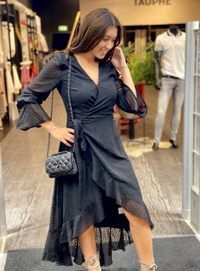 wikkel jurk zwart