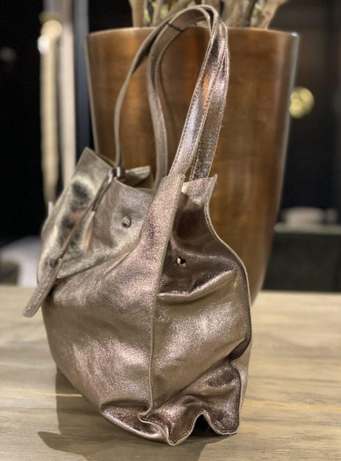bronze kleur leren tas