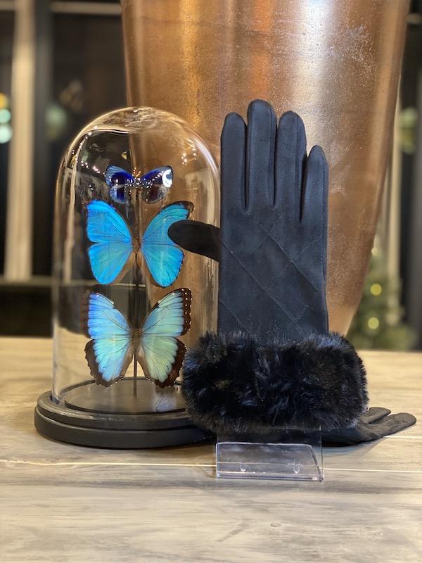 handschoenen zwart bontje