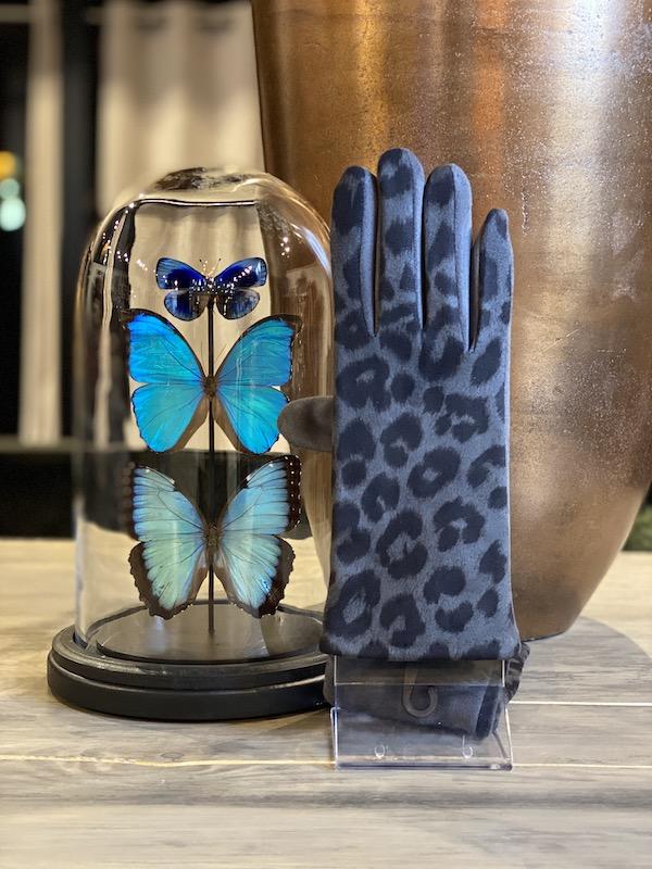 handschoenen panterprint grijs